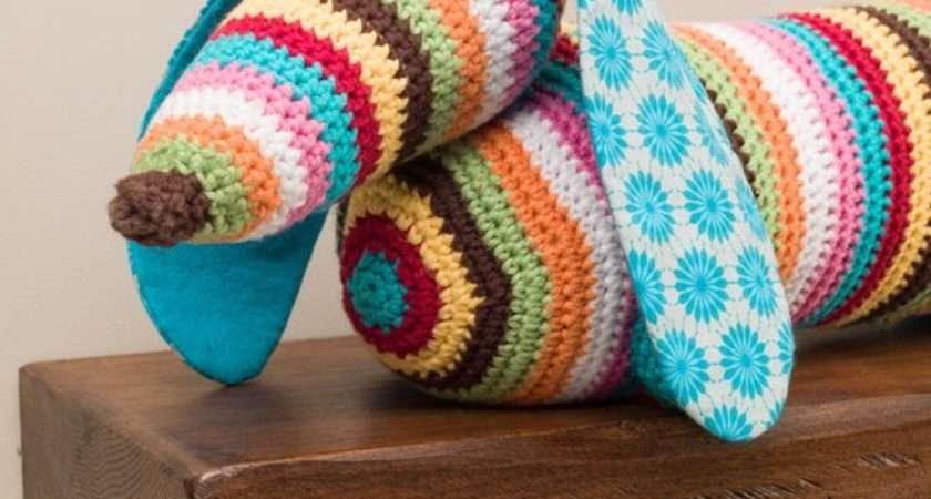 Stripy Dachshund Sausage Dog Crochet Doorstop Draught
