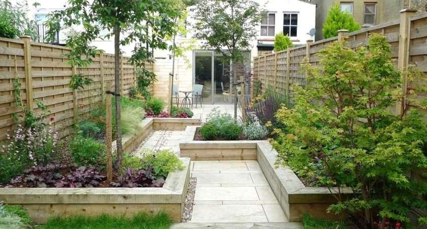 Stunning Back Garden Designs Also Wooden Wall Fence