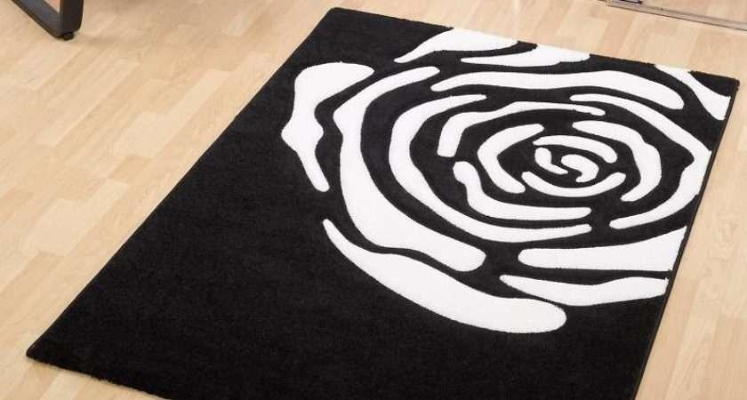 Stylish Black Rug Idea Plus Impressive White Ross Theme
