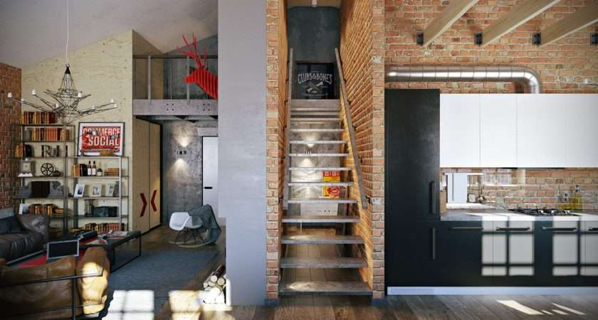 Stylish Industrial Inspired Loft Interiors