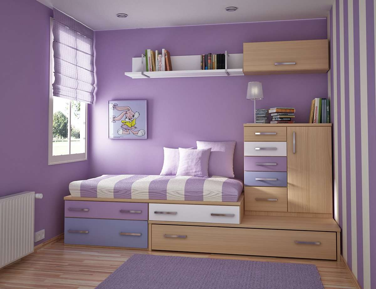 Stylish Lavender Colour Teen Room