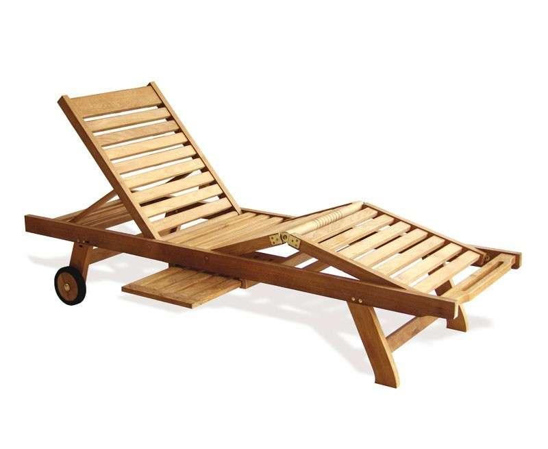 Sun Loungers Luxury Teak Reclining Lounger Cushion