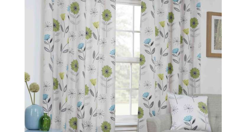 Sundour Monterey Lime Green Lined Eyelet Curtains Dove Mill