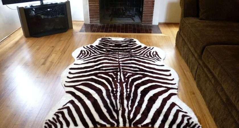 Super Plush Brown White Faux Zebra Hide Rug France