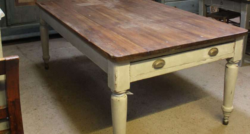 Superb Large Victorian Scrub Top Table Dining Farmhouse
