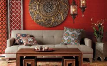 Table Ornate Details Shape Chic Living Room Bold Colors