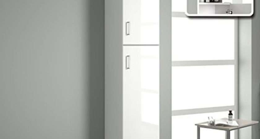 Tall Gloss White Bathroom Cupboard Reversible Storage