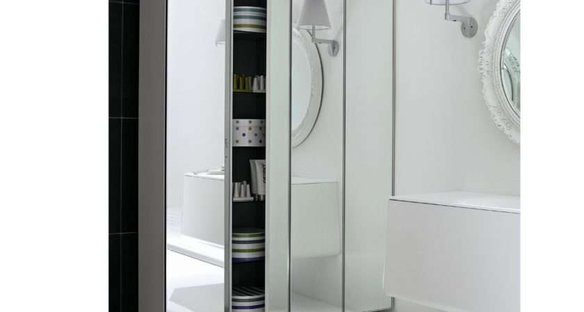 Tall Suspended Mirrored Glass Bathroom Cabinet Campus