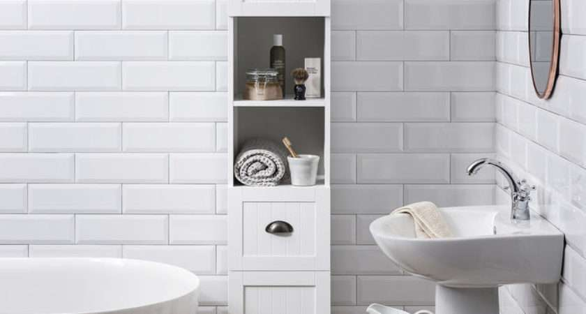 Tallboy Bathroom Cabinet Hallway Storage Unit White