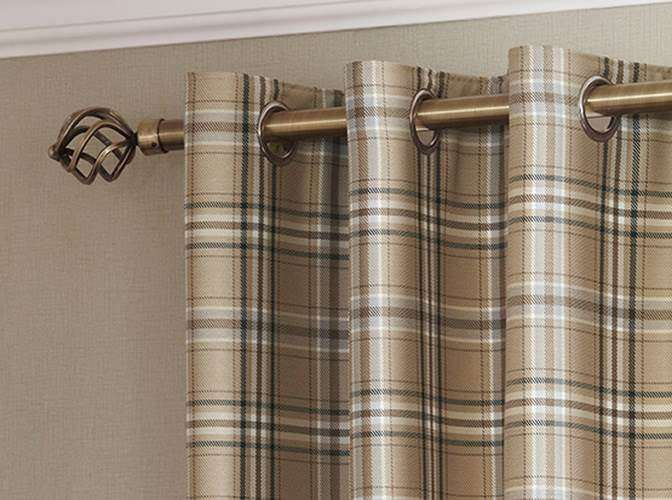 Tartan Check Lined Eyelet Curtains Ready Made Ring Top Brown Aubergine