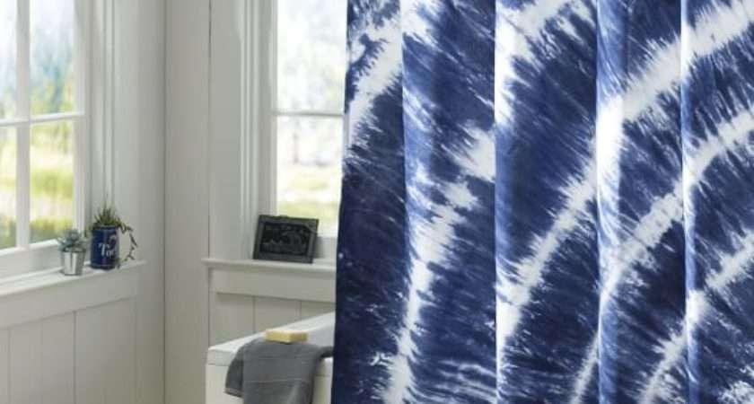 Tatum Tie Dye Shower Curtain Navy Pbteen