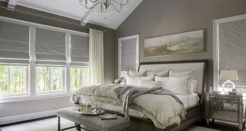 Taupe Bedroom Sleigh Bed Transitional
