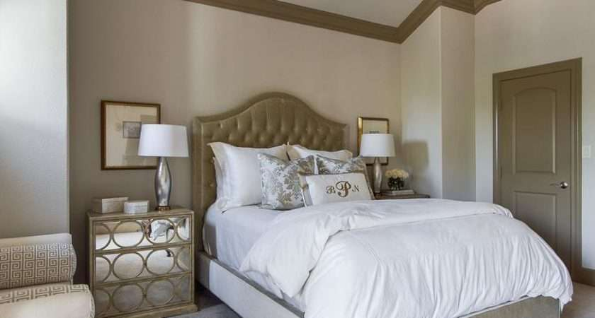 Taupe Headboard Transitional Bedroom Interiors