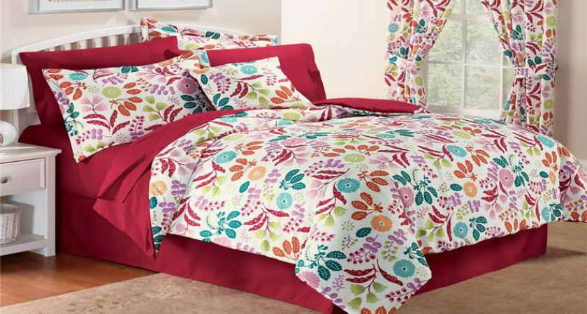 Teenage Girl Bedding Set Red White Blue Purple Floral Twin