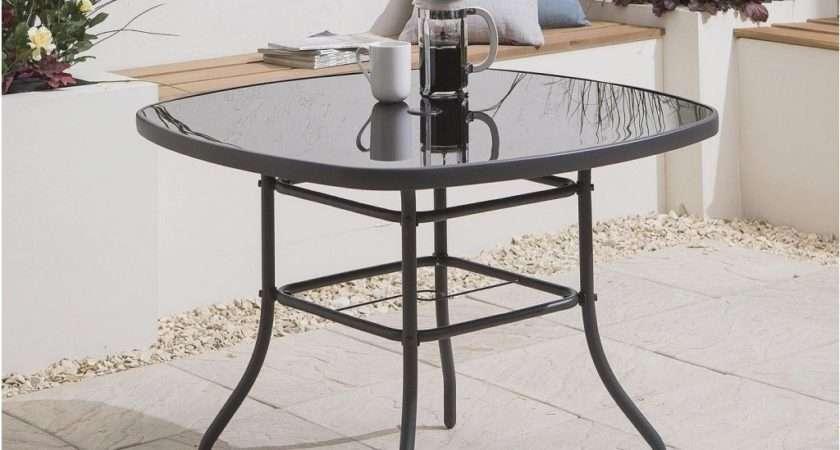 Tesco Seville Square Seat Steel Frame Glass Garden Table
