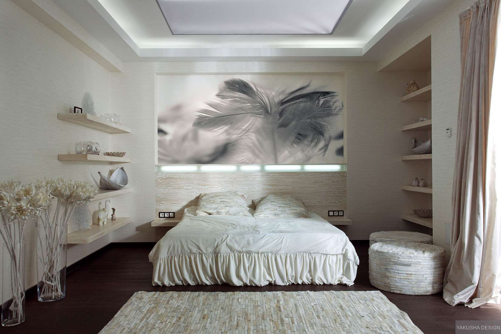 Textured White Bedroom Collectables Displayed Shelving