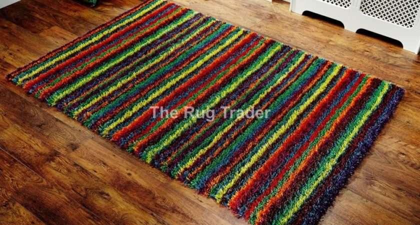 Thick Bright Multi Coloured Festival Striped Shaggy
