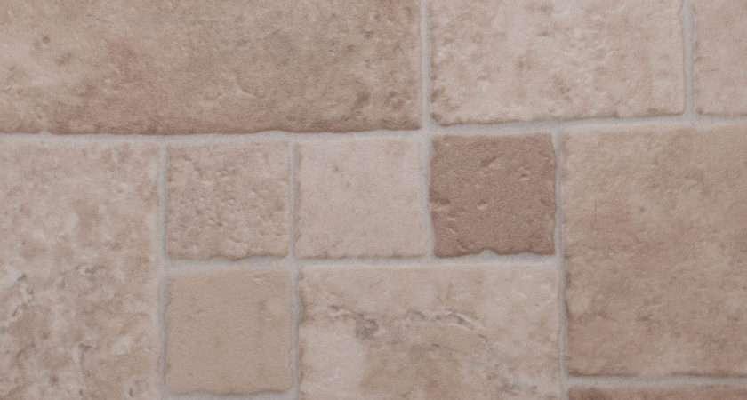 Thick Vinyl Flooring Beige Multi Sized Tile Lino