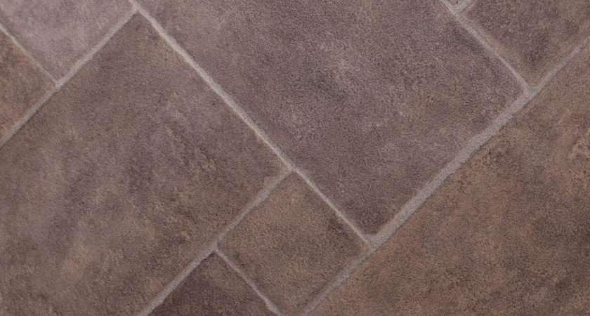 Thick Vinyl Flooring Diamond Rectangle Brown Tile
