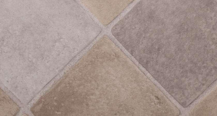 Thick Vinyl Flooring Light Beige Diamond Tiles Lino
