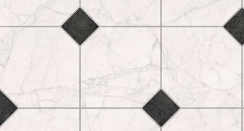 Thick Vinyl Flooring White Marble Tile Black Motif