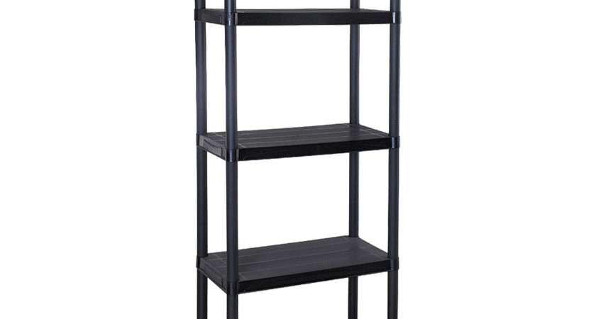 Tier Black Plastic Racking Shelving Unit Storage Shelves