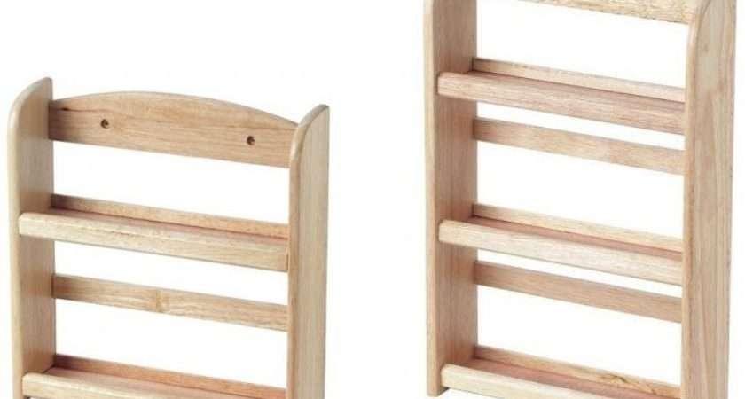 Tier Wooden Spice Rack Herb Storage Holder Wall