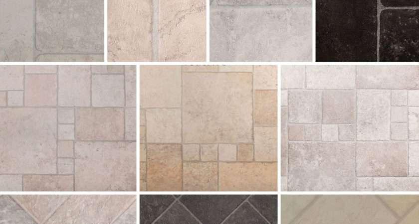 Tile Effect Vinyl Flooring Thick Foam Backing