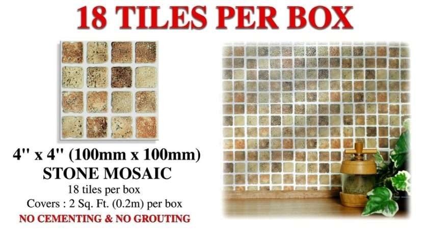 Tiles Designed Small Stone Effect Mosaic Either Kitchen
