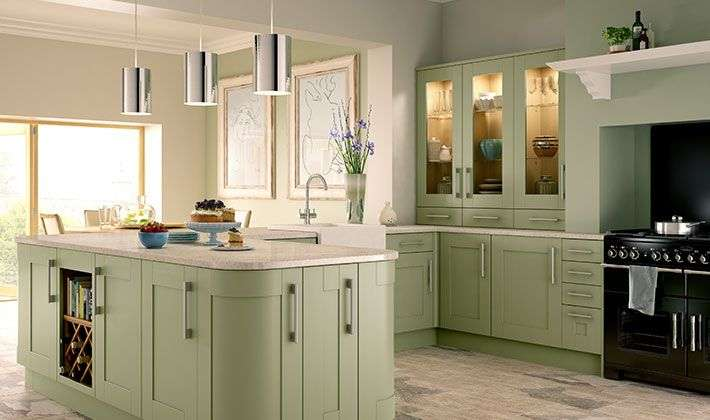 Tiverton Sage Green Kitchen Wickes