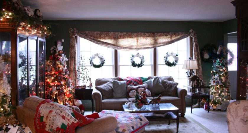 Traditional Christmas Living Room Curtain Furniture Latest
