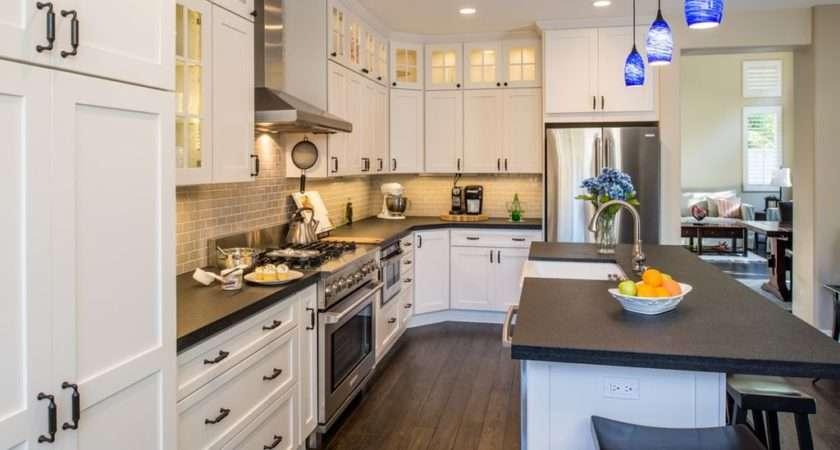 Traditional Kitchen Flat Panel Cabinets Remodel