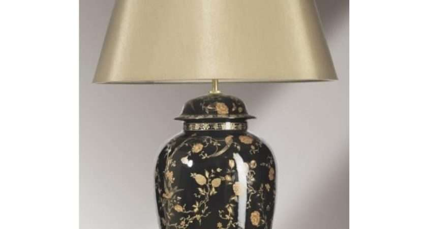 Traditional Oriental Style Black Gold Ceramic Table Lamp