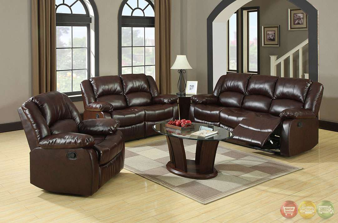 Traditional Rustic Brown Living Room Set Plush Cushions