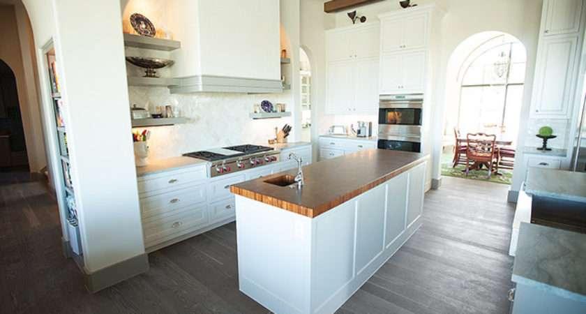 Traditional White Kitchen Grey Floor Oak