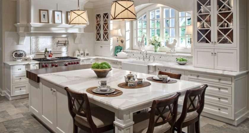 Traditional White Kitchen Large Eat Island Hgtv