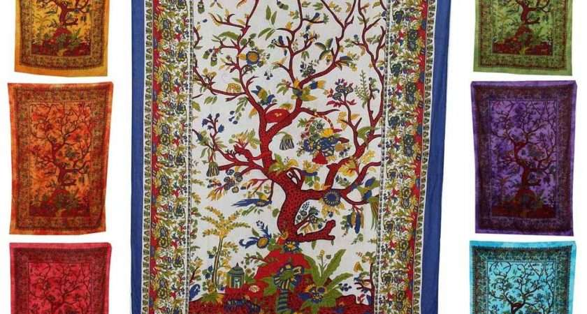 Tree Life Wall Hanging Tapestry Hippy Throw Fabric Indian