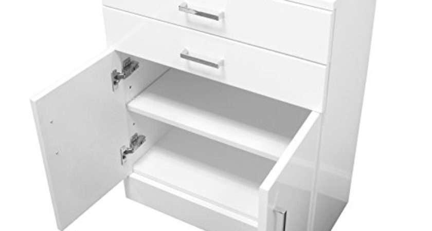 Trento Freestanding White Gloss Bathroom Cabinet