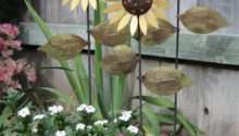 Trio Metal Sunflowers Hand Made Decorative Garden Art