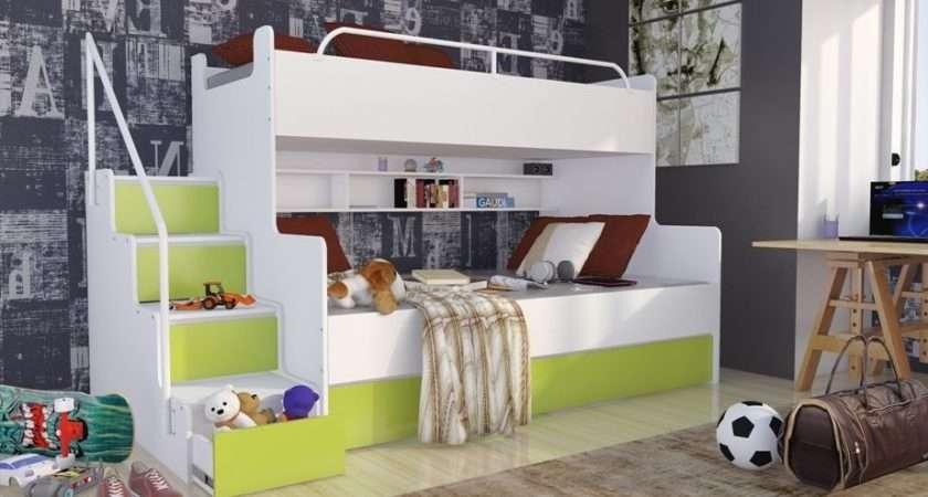 Triple Bunk Bed Mattresses Storage Children Bedroom