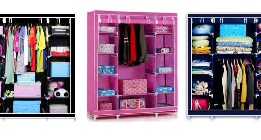 Triple Canvas Wardrobe Bedroom Home Furniture Clothes Storage Cupboard
