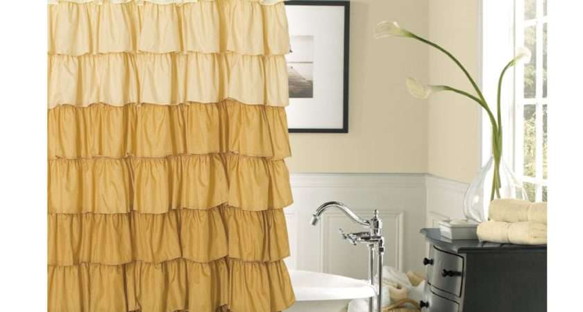 Tufted Striped White Cream Brown Shower Curtain
