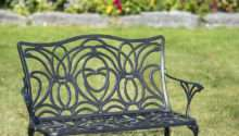 Tulip Bench Aluminum Garden Black Metal Outdoor