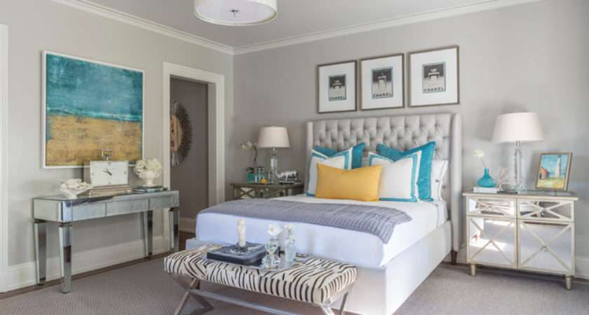 Turquoise Gray Bedroom Features Trio Chanel