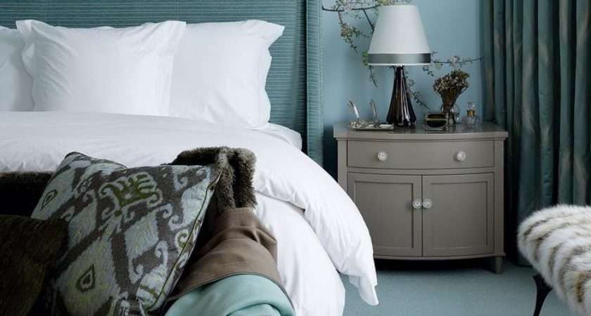 Turquoise Gray Bedroom Nightstand Wingback