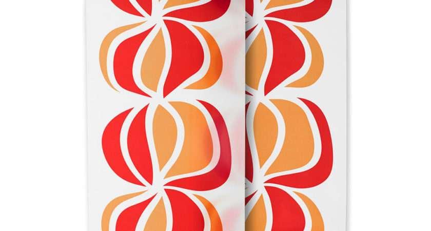 Two Ikea Ullastina Panel Curtains Orange Red Graphic