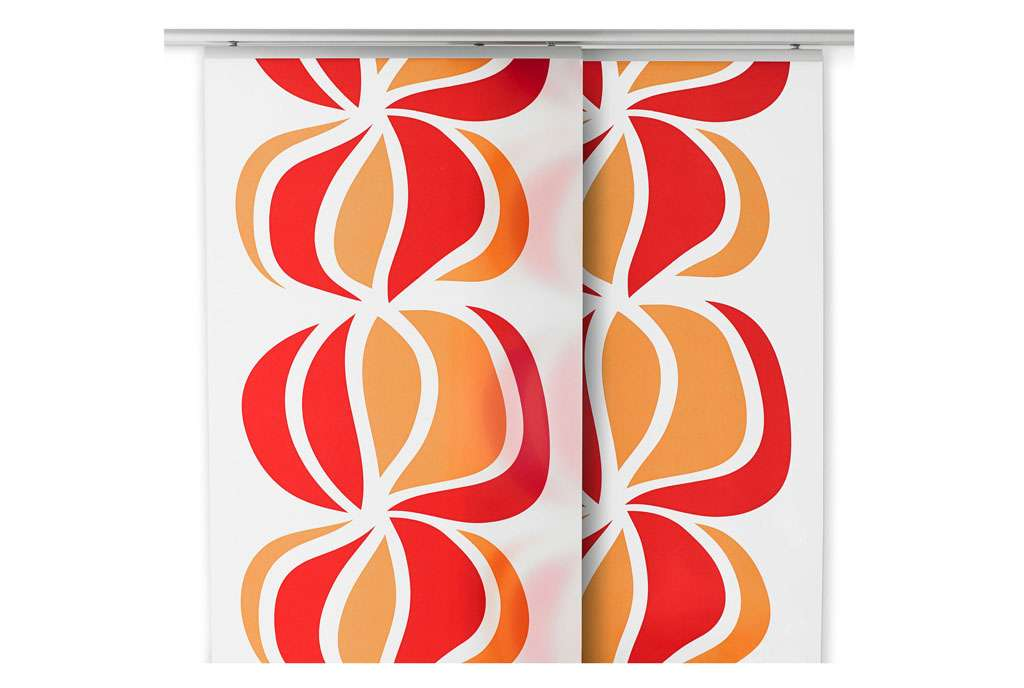 Two Ikea Ullastina Panel Curtains Orange Red Graphic