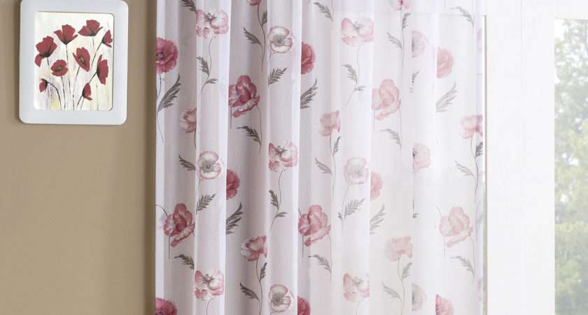 Tyrone Meadow Pair Voile Curtains Red Next Day