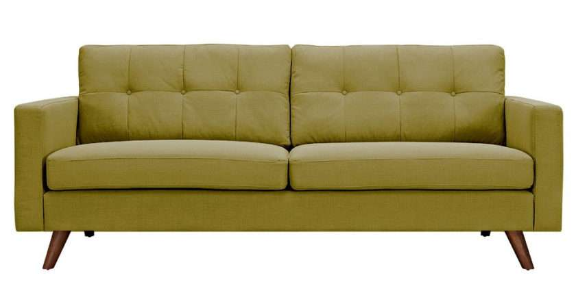 Uma Mid Century Modern Green Fabric Button Tufted Sofa