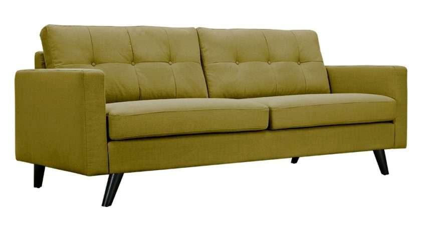 Uma Modern Green Fabric Button Tufted Sofa Black Finish